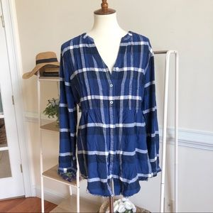 Anthropologie holding horses plaid button down